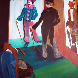 Jorge De La Fuente: 'WHICH COSTUME TODAY', 1992 Acrylic Painting, Surrealism. Artist Description:   Neo surrealism painting of the theather of life, where we are all actors. A gent, reflects a clown on the mirror and a sales man on his rigth, with a theather inside his case. The critic as a little clown on the upper left in a surreal window.   ...