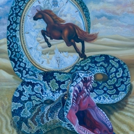 Olesya Novik Artwork Rings of the time, 2006 Oil Painting, Surrealism