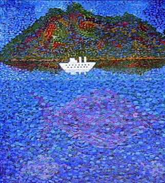 Andrey Moskaliov Artwork white ship, 1996 Oil Painting, Ecological