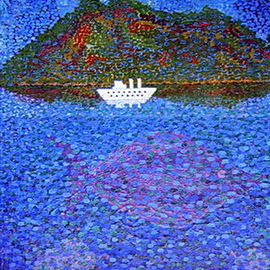 Andrey Moskaliov: 'white ship', 1996 Oil Painting, Ecological.