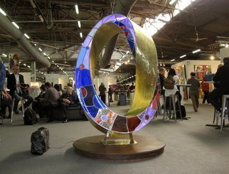 Plamen Yordanov: 'Light Infinity', 2015 Bronze Sculpture, Abstract.  Light Infinity Double Mobius Strip bronze, leaded stained glass, LED lights, remote, patina, 82 in.