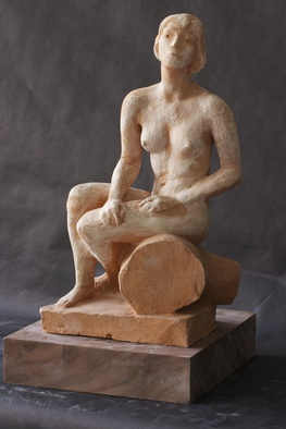 Ceramic Sculpture by Penko Platikanov titled: Seated Woman, created in 2013