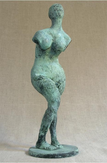 Penko Platikanov  'Standing Woman', created in 2005, Original Sculpture Bronze.