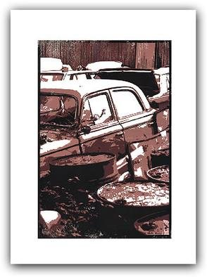 Peter Lembrechts: '403 and oilcans', 1997 Linoleum Cut, Automotive. This linocut was made using the Reduction- technique: the printing plate was recut for each of the 3 colours.8 copies.Price given is for framed ( 65x85 cm) work. ...
