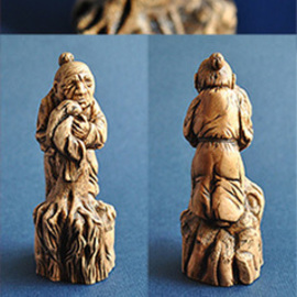 Plotnikova Victoria: 'Netsuke Old Woman', 2015 Wood Sculpture, Philosophy. Artist Description: Material: wood - pear. The old woman holds the broken trunk of an old tree, simultaneously trampling the young shoots that gave the tree. That yearning for those what has already gone, she does not allow new development. On the one hand this image is tragic, causing compassion for ...