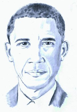 Pencil Drawing by Paul Jones titled: Barack Obama, 2014