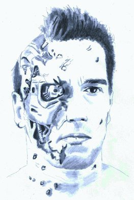 Pencil Drawing by Paul Jones titled: Big Arnie The Terminator, 2014
