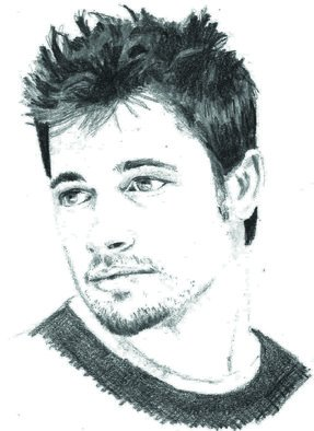 Pencil Drawing by Paul Jones titled: Brad Pitt, 2014