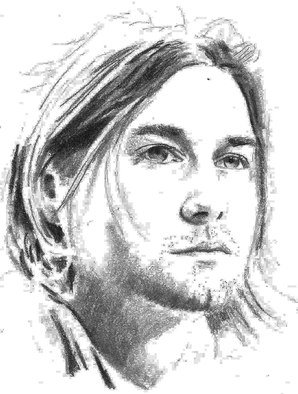 Pencil Drawing by Paul Jones titled: Kurt Cobain, 2014