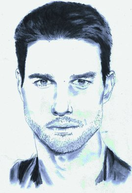 Pencil Drawing by Paul Jones titled: Tom Cruise, 2014