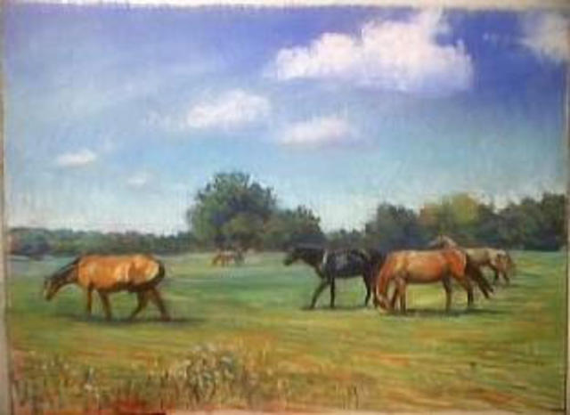 Paula Wilson  'Horses In Pasture', created in 2003, Original Sculpture Other.