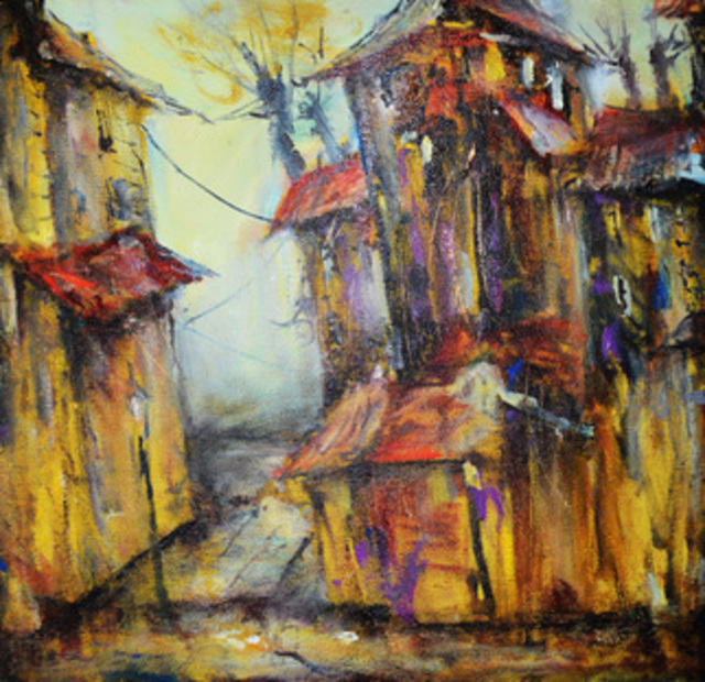 Oleg Poberezhnyi  'An Old Yard', created in 2014, Original Painting Other.