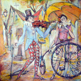 Oleg Poberezhnyi: 'Clowns', 2014 Oil Painting, Clowns. Artist Description:  clowns, people, bikes, cycles   ...