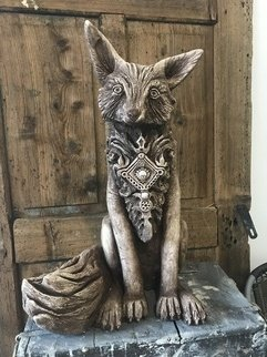 Kate Pawluskiewicz: 'Mr Fox', 2018 Other Sculpture, Animals. Artist Description: Polish Folk Regional Fox with Highlander Brooch limited edition concrete casting. ...