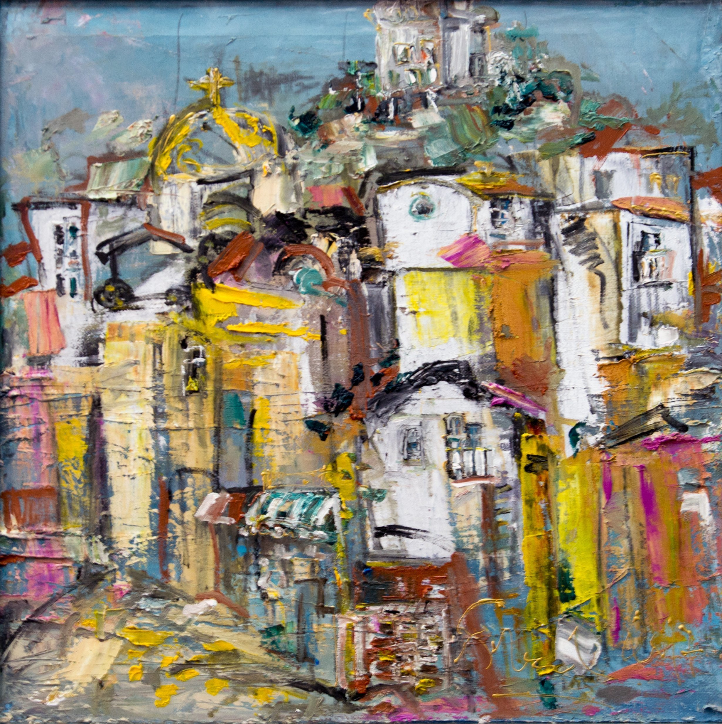Svetla Andonova: 'plovdiv 32 2017', 2017 Oil Painting, Architecture. Artist Description: Category	Oil paintingSubject	Landscapes, sea and skySubstrate	CanvasMaterials	Oil colors on canvasStyle	ImpressionisticDimensions	47 x 47 x 6 cm  framed    40 x 40 x 4 cm  unframed    40 x 40 cm  actual image size Framing	This artwork is sold framed...