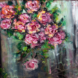 Svetla Andonova: 'stolen time 312016', 2016 Oil Painting, Floral. Artist Description: Category	Oil paintingSubject	Flowers and plantsSubstrate	CanvasMaterials	oil colors on canvasDimensions	40x40x7cm framed  35x35x2cm unframed  35x35cm  actual image size Framing	This artwork is sold framed...