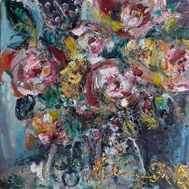 Svetla Andonova: 'the day of catalina 3 2018', 2018 Oil Painting, Floral. Artist Description: The Day of Catalina  3. 2018 , oil painting by Svetla Andonova, 20x20cmCategory	Oil paintingSubject	Flowers and plantsSubstrate	CanvasMaterials	oil colors on canvasStyle	ImpressionisticDimensions	27 x 27 x 4 cm  framed    20 x 20 x 2 cm  unframed    20 x 20 cm  actual ...