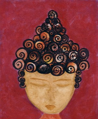 Stacey Hines Artwork Buddha Blossoms Vintage Portrait of Young Siddhartha in Middle School, 2006 Collage, Abstract