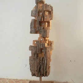 John Paul Dalisay: 'People are people', 2011 Wood Sculpture, Abstract Figurative. Artist Description:  Recycled old molave wood post   ...
