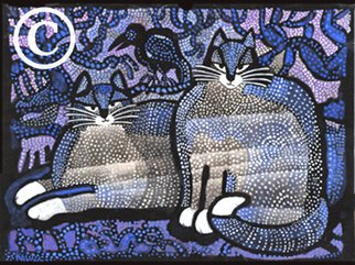 Les Kaluza: 'Dotted Cats', 1995 Tempera Painting, Cats. Artist Description:  (c) Les Kaluza...