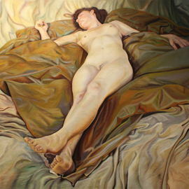 Paul Kenens: '72 The Origin of the World', 2020 Oil Painting, Nudes. Artist Description: Model BjAP rk lying in perspective on dark fabric, on top af a lighter fabric, trown dawn casualy...
