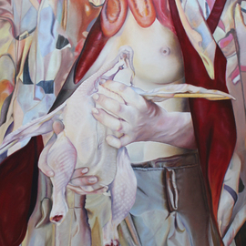Paul Kenens: 'Chicken Breast', 2019 Oil Painting, Nudes. Artist Description: Chikenbreast and vegatable hanger in a jester cape...