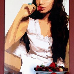 , Angelina With Strawberrie, Famous People, Request Price