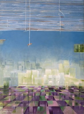 Prabha Shah: 'Gurgaon', 2011 Oil Painting, Abstract Landscape.   You roll up the tattered blinds to see a new city rising, gleaming with steel and glass. It's like a hologram, an imprint from the future hovering like a mirage in the distance. But it's aspiration or gullibility on this side of the blinds, from the landowner- peasant...