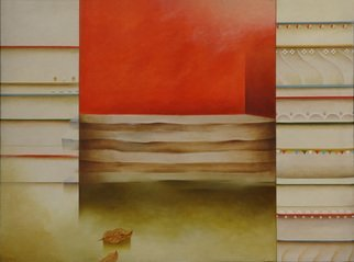 Prabha Shah: 'Pick the Leaf', 1998 Oil Painting, Abstract Landscape.  Three vertical strips portraying horizontal ones within sit beside each other. The one on right, with buntings, promise a celebration. They are gone in the left- most strip. But the one in the middle is not from either of these worlds. It strikes out by itself. Only, nature intrudes with...