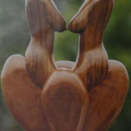 Pradeep Lal: 'Sapphic', 2011 Wood Sculpture, Erotic. Artist Description:  This work demostrate love of two hearts beyond boundries.  ...