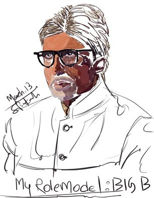 Satya Prakash: 'Art Work', 2015 Digital Art, Hindu.  Big B ...