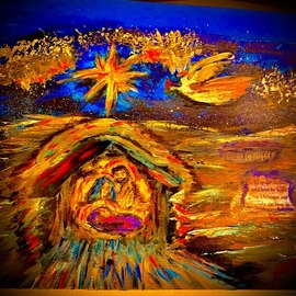 Mary Schwartz: 'humble birth', 2021 Acrylic Painting, Mystical. Artist Description: Nativity...