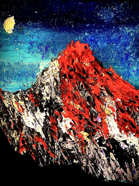 Mary Schwartz  'Mars Mountain At Sunrise', created in 2021, Original Painting Acrylic.