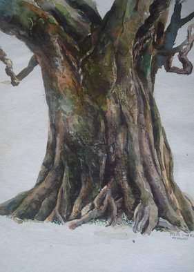 Preeti Agrawal: 'Meditating branch', 2007 Watercolor, Beauty.   Land of culture. Temple. Nepal. Tree. Landscape. Beauty. Branh. Meditation.             ...