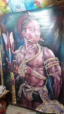 Francis Blankson: 'great worrior', 2017 Acrylic Painting, Ethnic. Artist Description: Great warriors of various societies appears very courageous. ...