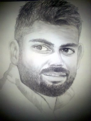 Prikesh Ravi: 'virat dry brush art', 2017 Paper, Celebrity. Artist Description: Virat dry brush art...