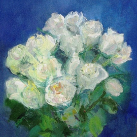 Diana Sterna: 'White roses', 2007 Oil Painting, Floral. Artist Description:  White roses, oil on canvas ...