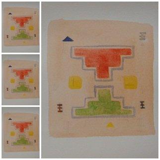 Ivana Kosanovic Artwork 'Amajlike', 2015. Watercolor. Geometric. Artist Description: Inspired by Pirot kilim patterns. ......
