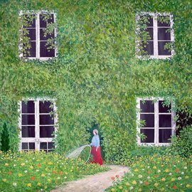 Priyadarshi Gautam: 'LADY IN THE GARDEN 2', 2003 Oil Painting, Scenic.