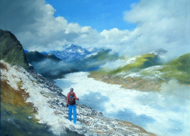 Priyadarshi Gautam  'SIDDHARTH AT ALETSCH', created in 2010, Original Painting Oil.