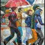 ORIGINAL OIL PAINTING  RAINY CROWD  30X24 By Natalia Bessonova