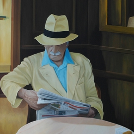 Peter Seminck: 'Morning Paper', 2013 Oil Painting, People.