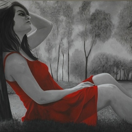 Red Dress relaxing  By Peter Seminck