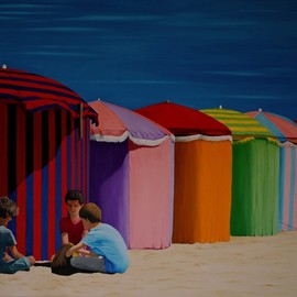 Peter Seminck: 'colores del mundo', 2019 Oil Painting, People. Artist Description: beachchildrensuncolors...