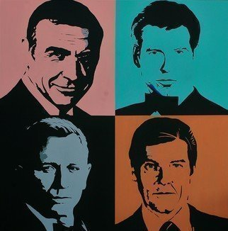 Peter Seminck: 'james bond', 2020 Acrylic Painting, Portrait. Graphical PopArt...