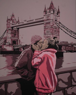 Peter Seminck: 'kiss from a rose', 2020 Acrylic Painting, Love. Paris is not the only city of love . . . ...