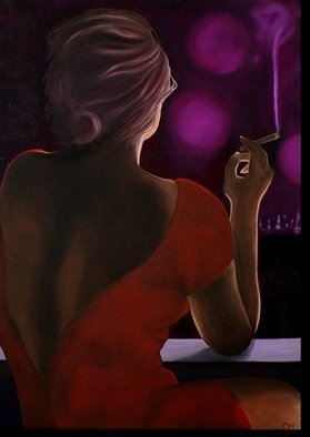 Peter Seminck: 'lady in red', 2019 Oil Painting, People. oil on canvas...
