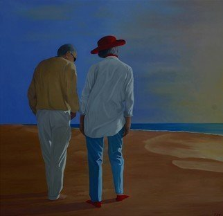 Peter Seminck: 'late afternoon on the beach', 2020 Oil Painting, People. Elderly couple enjoying the late afternoon sun on the beach...