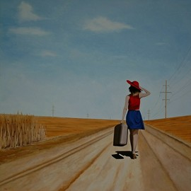 Peter Seminck: 'looking for adventure', 2017 Oil Painting, People. Artist Description: woman, walking, sky, realism, adventure...