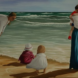 moms and kids on the beach  By Peter Seminck